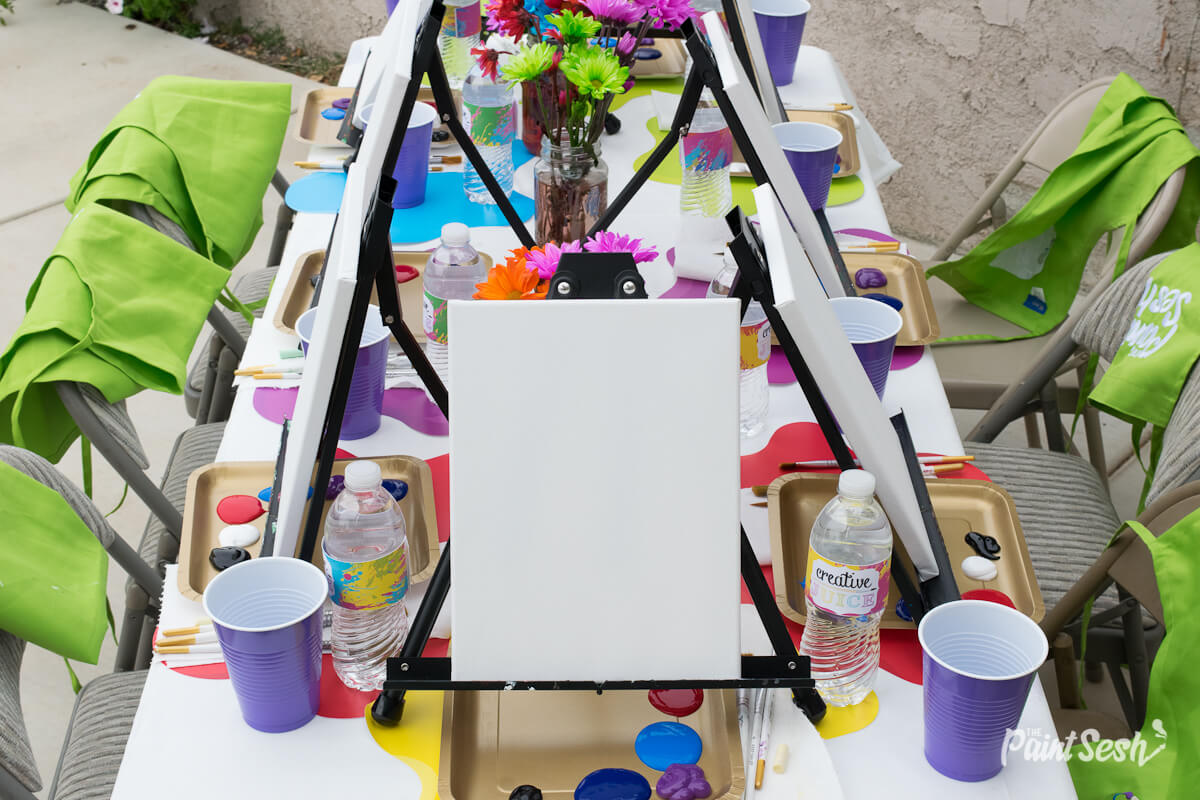 The Paint Sesh Painting Party set-up