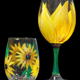 Sunflower Wine Glass Set