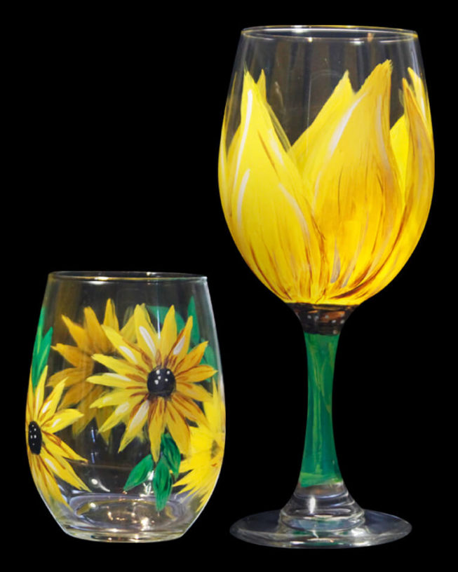 Sunflower Wine Glass Set
