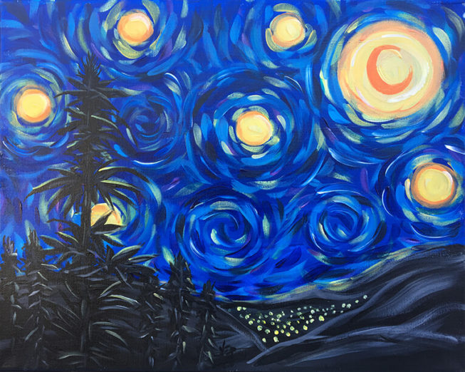 Sativa Night - An original Paint Sesh painting by: Chelz Franzer will be painted at MTL in Riverside, CA Feb. 18th 2017