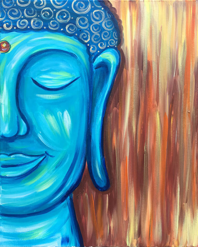 Happy Buddha Painting - Acrylic on Canvas by Chelz Franzer