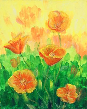 California Poppies Acrylic Painting
