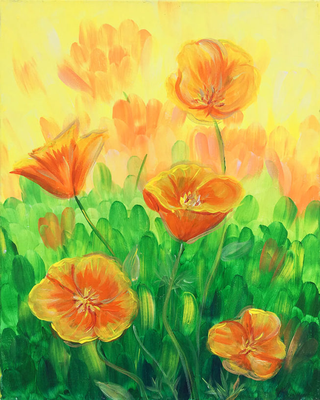California Poppies Acrylic Painting by Chelz Franzer