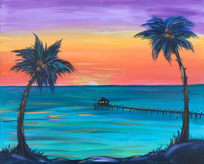 Baja Pier Acrylic Painting