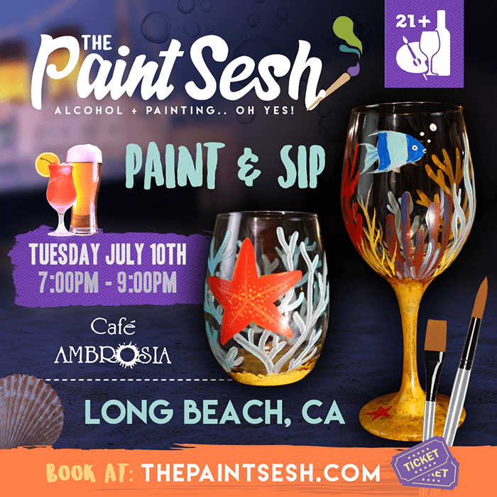 Wine Glasses Painting in Long Beach - Under the Sea Painted