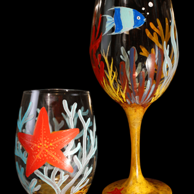 Under the Sea Painted Wine Glasses