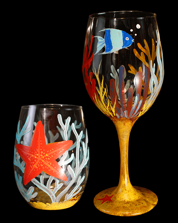 Under the Sea Painted Wine Glasses for The Paint Sesh By Chelz Franzer
