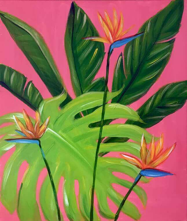 "The Paint Sesh painting ""Tropical Bliss"" was created by our colorful artist Chelz Franzer."