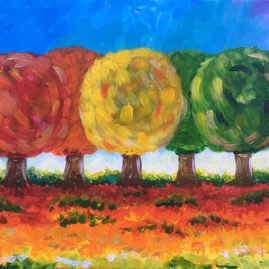 Fall Trees Acrylic on Canvas Painting