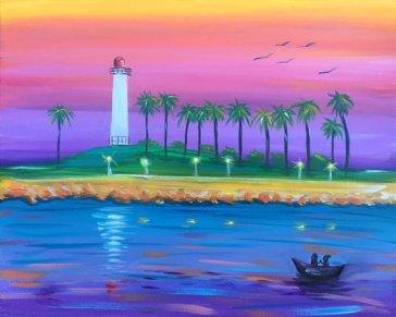 Long Beach Lighthouse Acylic Painting