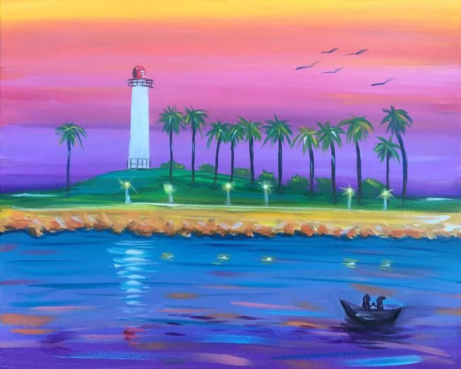 Long Beach Lighthouse Acylic Painting