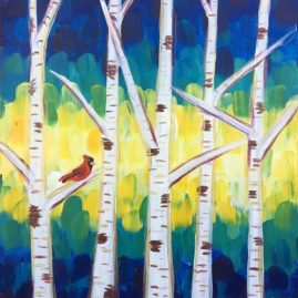 Birch Tree Bird Acrylic Painting