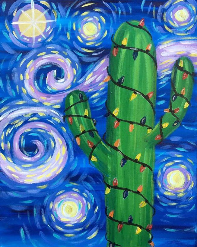 Saguaro Night Acrylic Painting