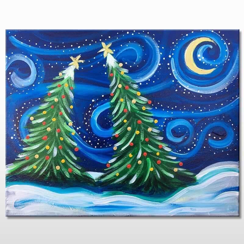 Snowy Night Acrylic Painting Class
