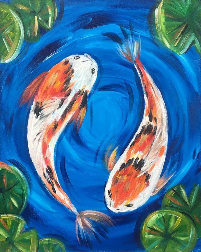 Koi Pond Acrylic Painting