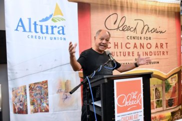 Cheech Marin at a press conference about the new museum