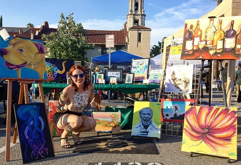 Chelz Franzer and her Chelzart booth at the Downtown Riverside Artwalk