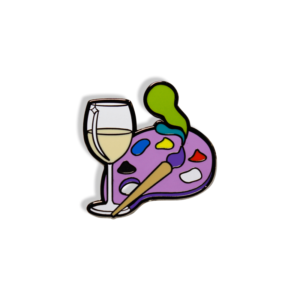 Wine and Paint Hard Enamel Pin - White Wine