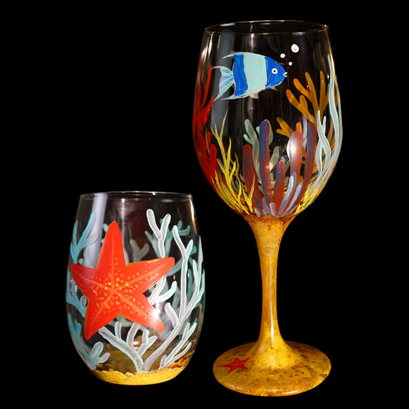 Under The Sea Wine Glass Painting Class