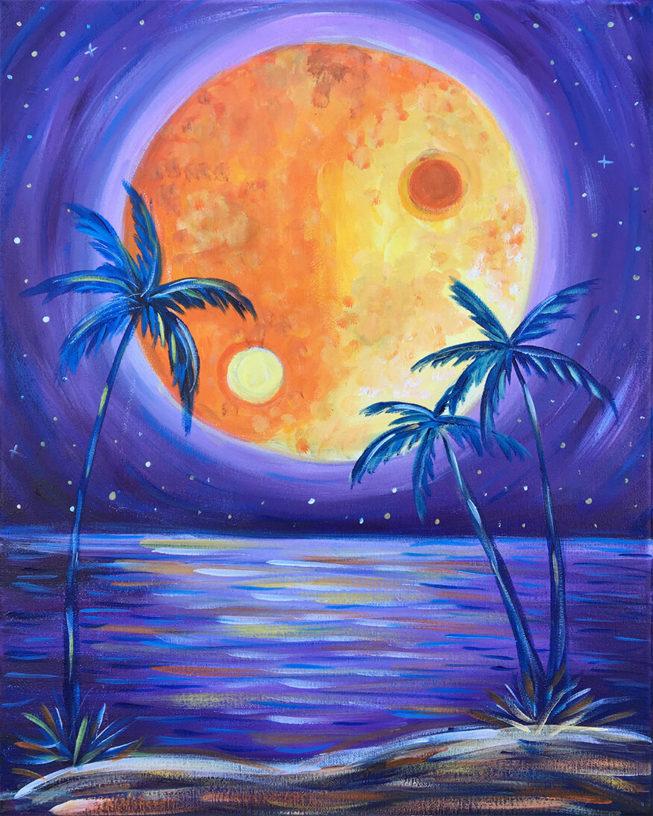 Yin Yang Moonlight Acrylic Painting