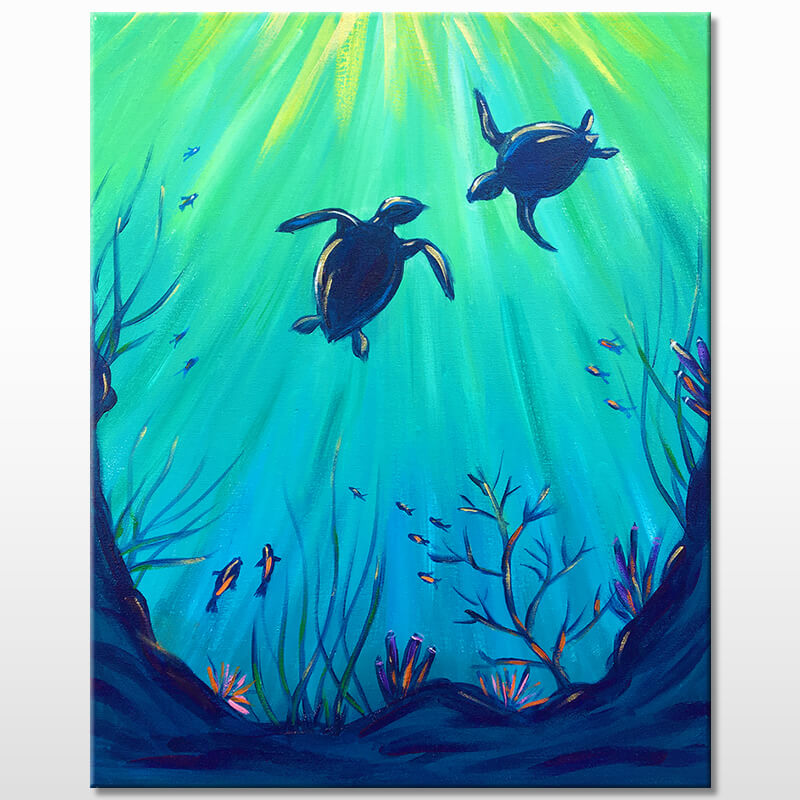 Under the Sea Turtles Virtual Painting Class