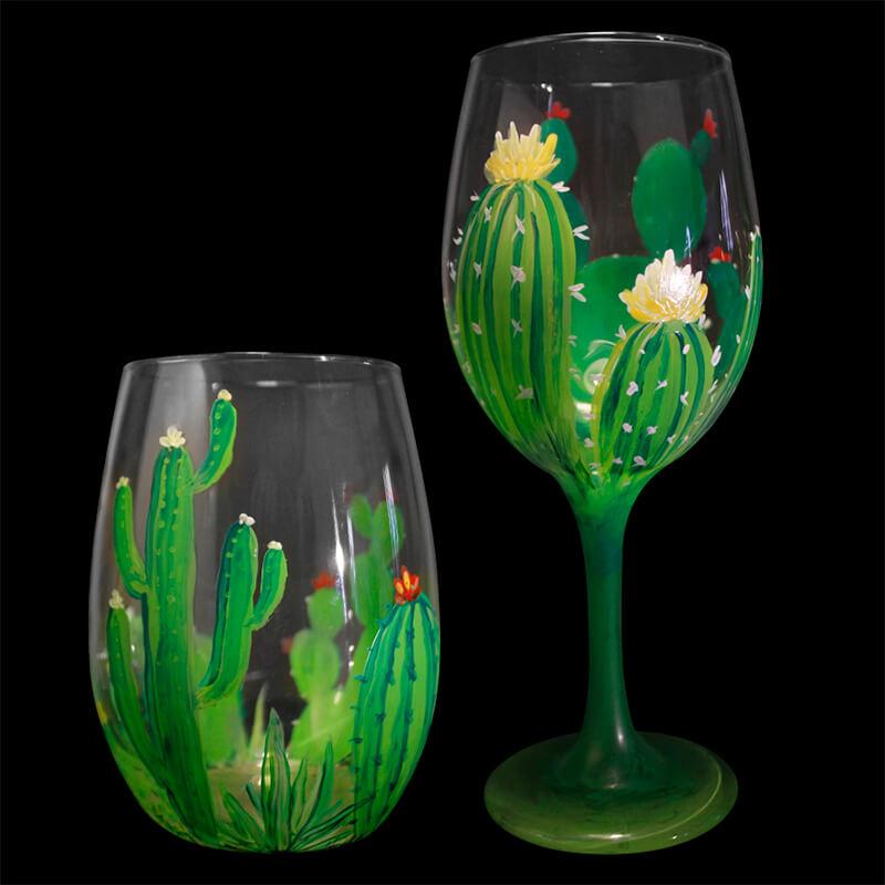 Desert Blooms Wine Glasses