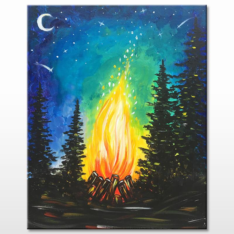Campfire Night Painting