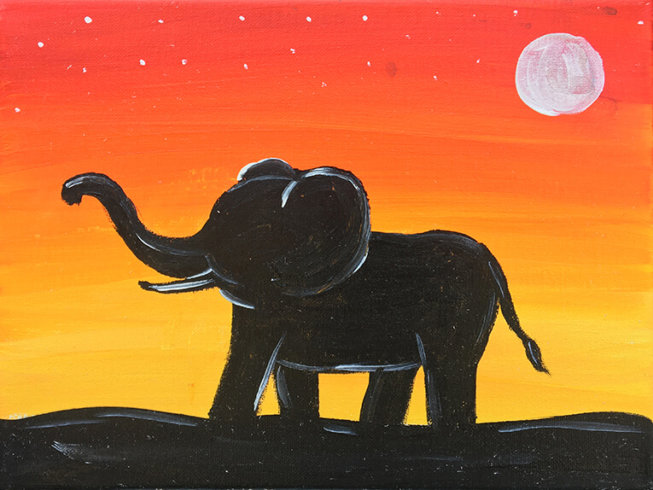 Elephant Sunset Kids Painting Party