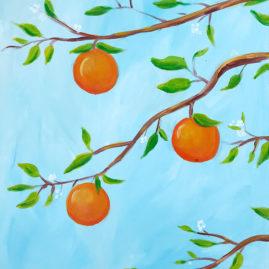 Orange Citrus Acrylic Painting