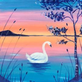 Swan Lake Acrylic Painting
