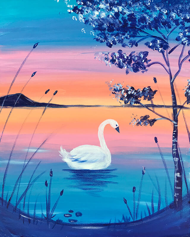 Swan Lake Acrylic Painting