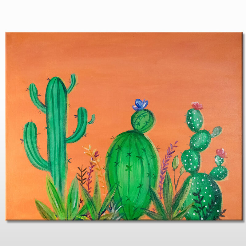 Cactus Blooms Acrylic Painting