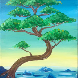 Bonsai Bay Acrylic Painting