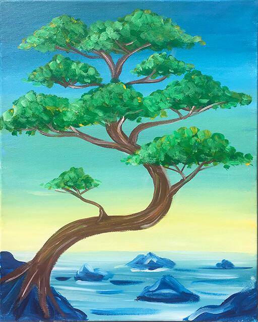 Bonsai Bay Acrylic Painting