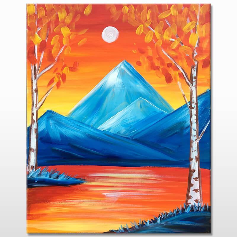 Autumn Lake Acrylic Painting Class