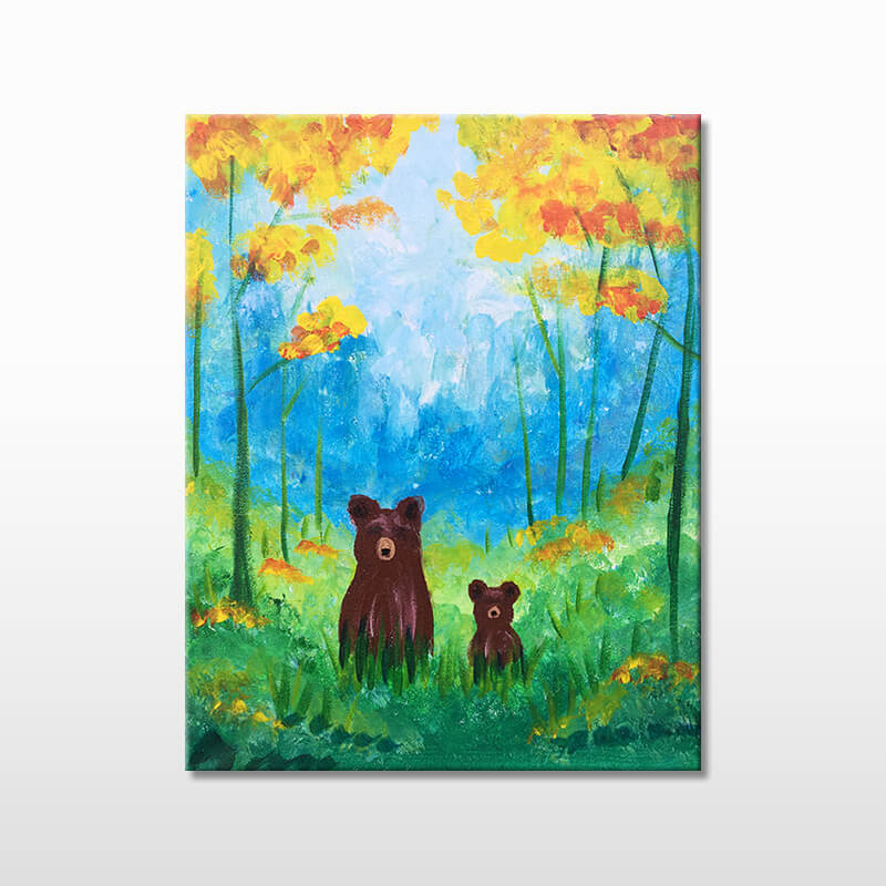 Forest Grizzlies Acrylic Painting