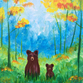Forrest Grizzlies Childrens Acrylic Painting