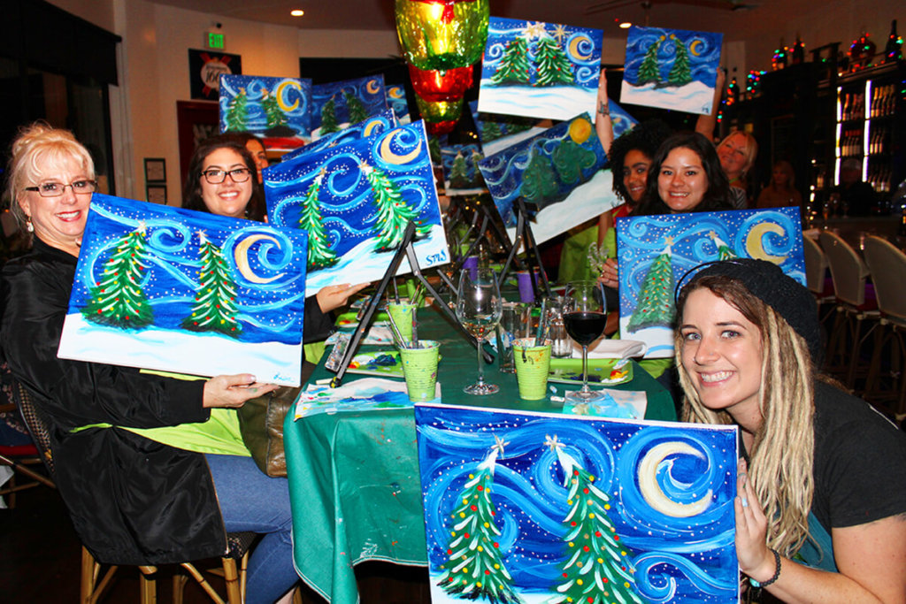 Holiday Painting Party in Southern California with The Paint Sesh