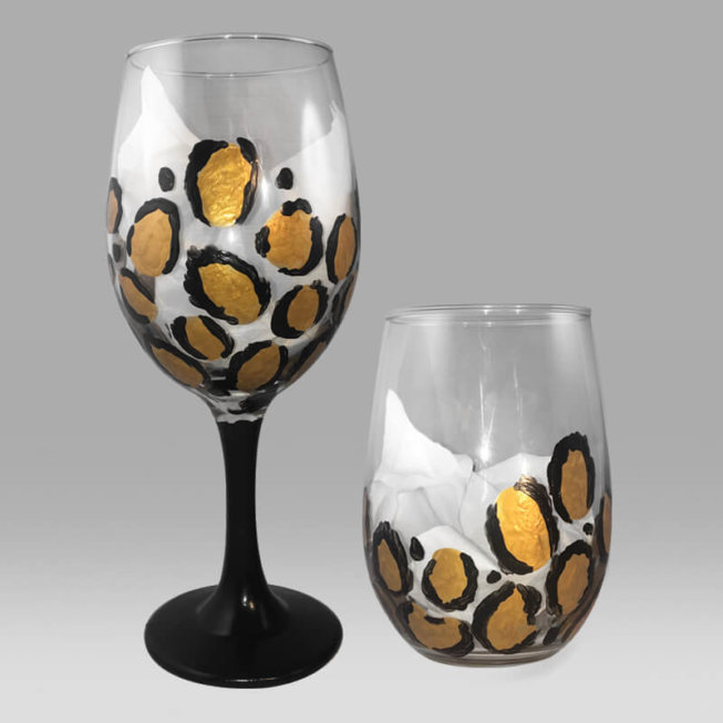 Cheetah Print Wine Glasses