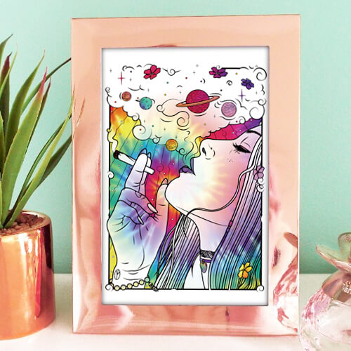 Higher Blend Space Girl Art Print