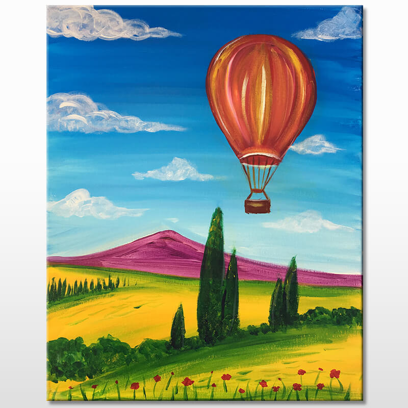 Hot Air Balloon Valley Online Painting Class