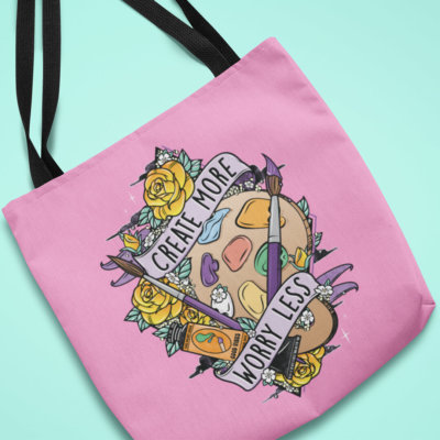 Create More Worry Less Pink Tote Bag