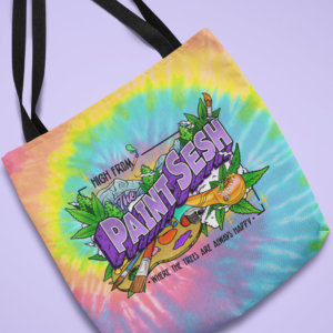 High From The Paint Sesh Tie Dye Tote Bag