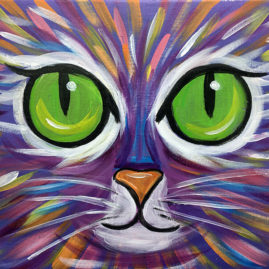 Colorful Cat Acrylic Painting Class