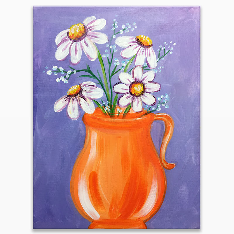 Pitcher of Daisies Virtual Painting Event