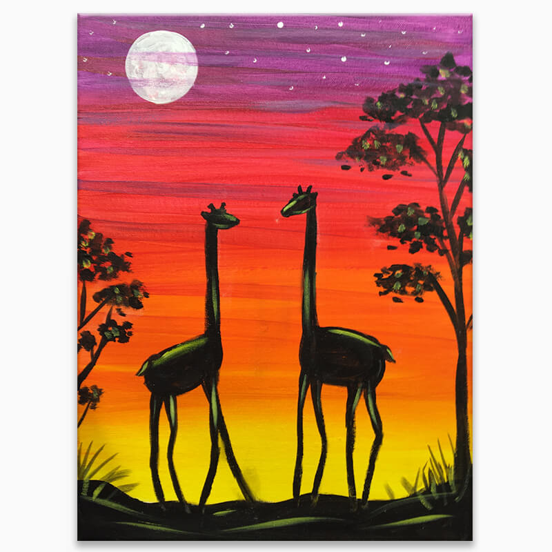 Giraffe Journey Vurtual Painting Class