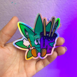 Highly Creative Weed Leaf Holographic Sticker