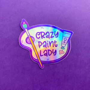 Crazy Paint Lady Holographic Sticker
