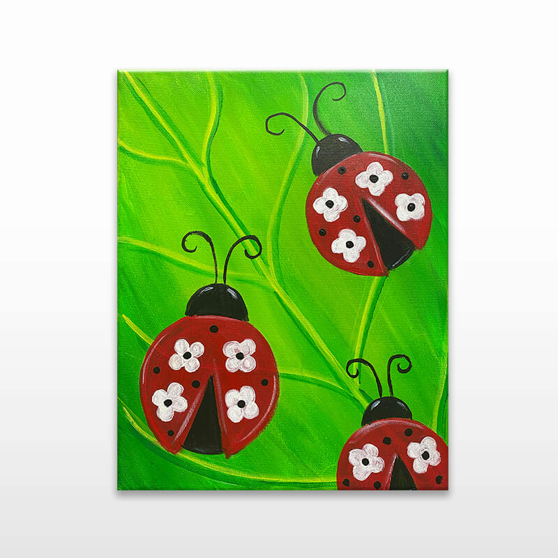 Floral Lady Bugs Virtual Painting Class