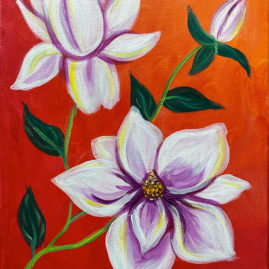 Magnolias Acrylic Painting by The Paint Sesh